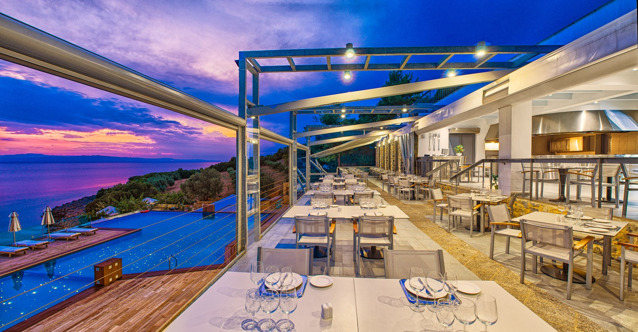 skopelos hotels adrina resort dinner restaurant 1
